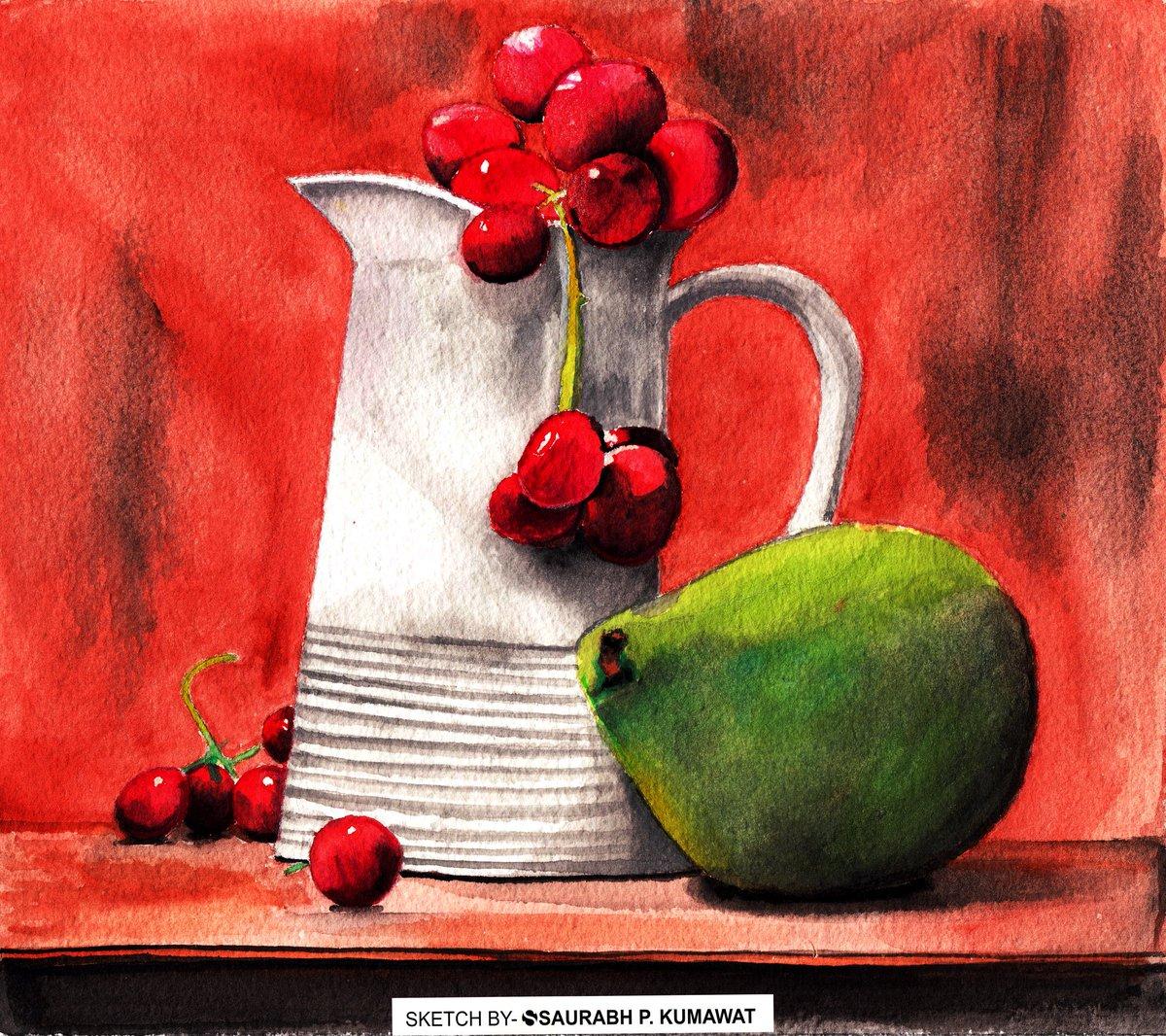 Still life watercolour painting. #stilllife #watercolour #Watercolourpainting #paintingoftheday #drawing #sketching https://t.co/TZbOWugus5