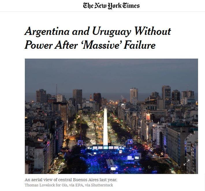 LA ARGENTINA SIN LUZ   El apagón, en las portadas de los principales diarios del mundo.  Esto es lo que publica el New York Times ⬇️