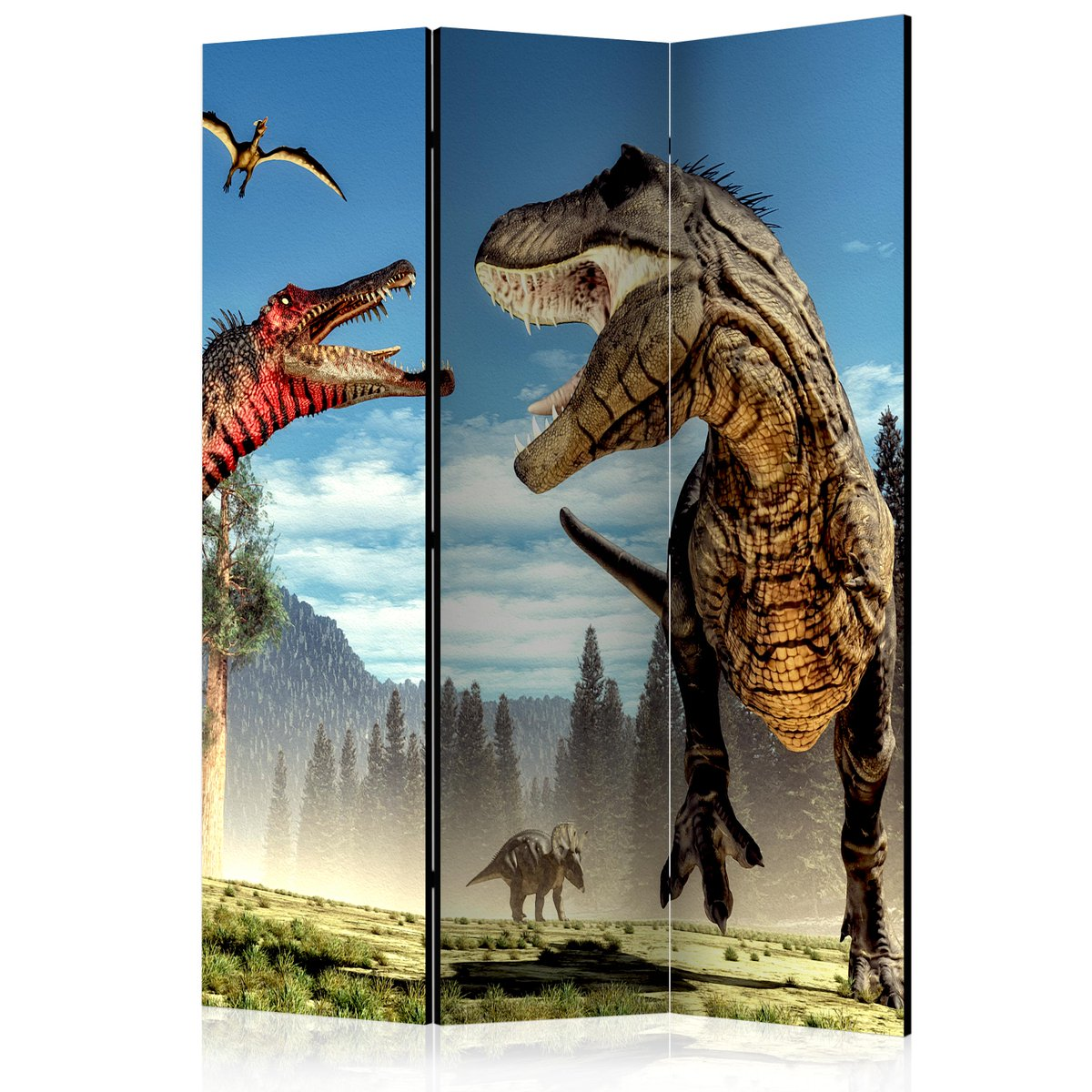 Paravent 3 volets DINOSAURS FIGHT à 155,90 € sur  #Enfants #mobilier #deco #design #Artgeist # https://www.recollection.fr/pour-les-enfants/20359-paravent-3-volets-dinosaures-lutte-salle-intercalaires-3664551297806.html …