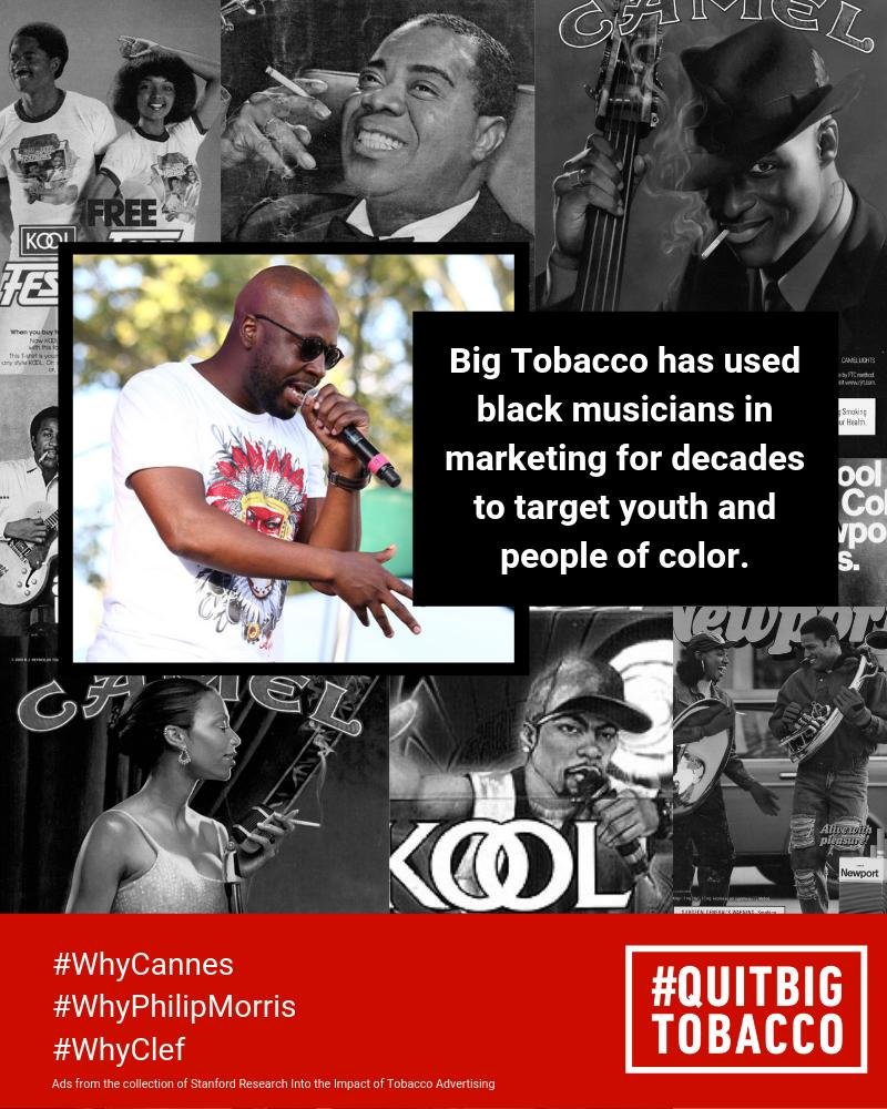 test Twitter Media - #BigTobacco firm @InsidePMI is hosting a session at #CannesLions with musician and pop-culture icon @wyclef  Why does this feel familiar? Maybe because #BigTobacco has exploited black musicians since the 1950s. #WhyCannes #WhyPhilipMorris #WhyClef https://t.co/LUEjcdMwp6 https://t.co/KmejzYqhmX