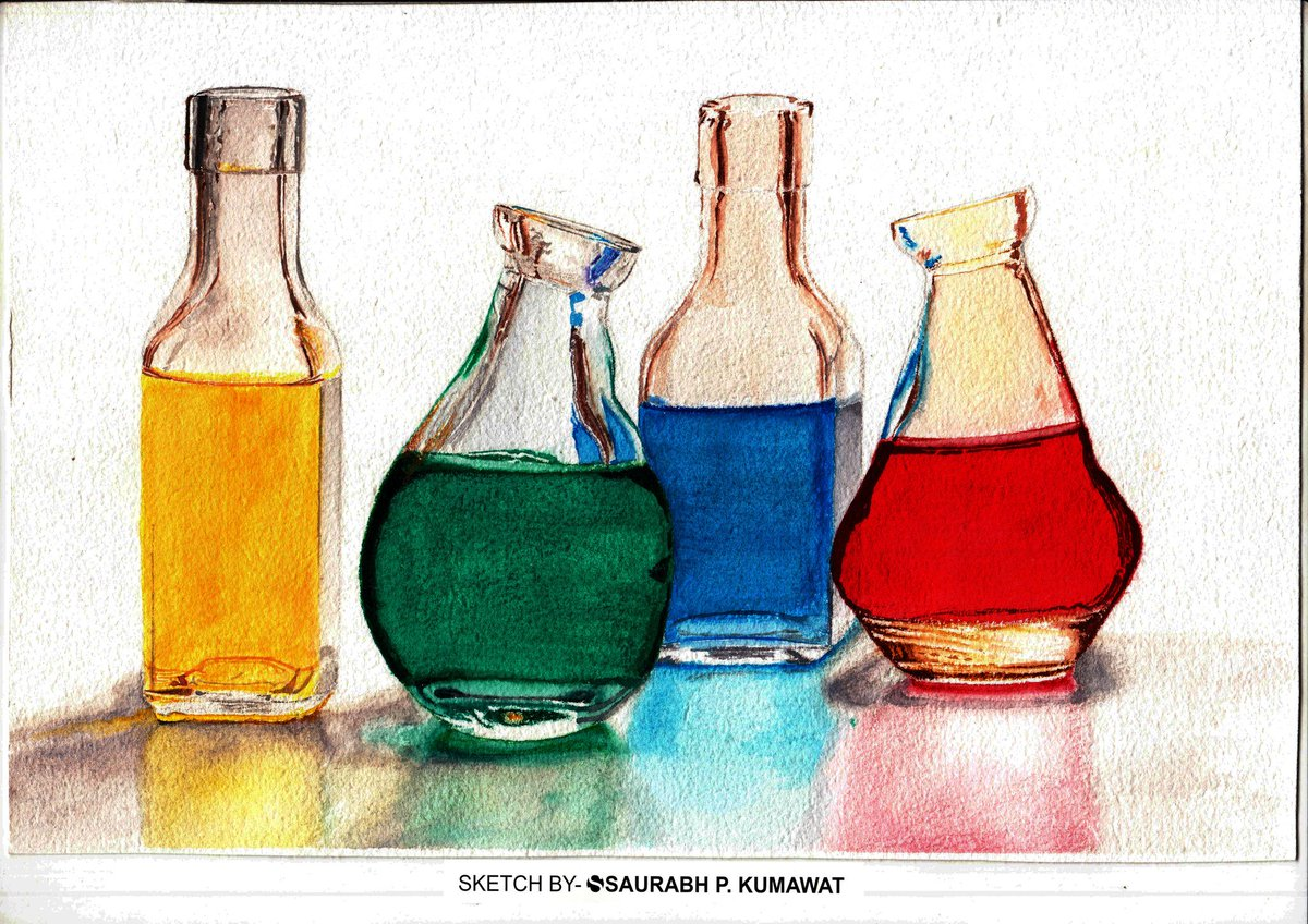 Still life watercolour painting. #stilllife #drawing #bottles #sketching https://t.co/B1DYIIzTFP