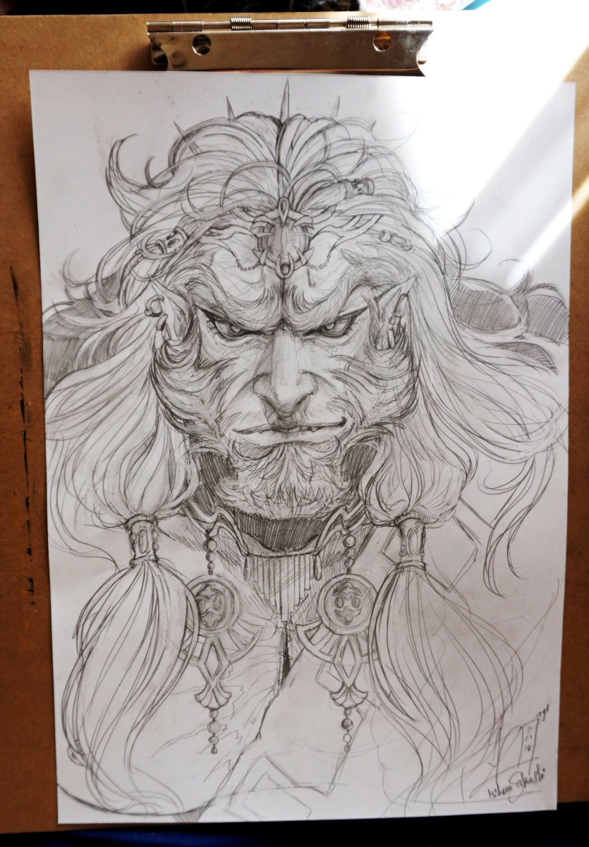 And here's my drawing of Ganondorf, more or less finished!  (Actually I'm tired of continuing it, when I have time I'll scan it to finish it on photoshop.) What do you think?  #Ganondorf #BreathOfTheWild2 #TheLegendofZelda #fanart #nintendo #ganon<br>http://pic.twitter.com/gPPBb2O6AU