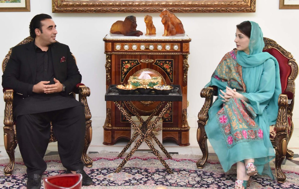 Chairman PPP @BBhuttoZardari meeting PMLN leader @MaryamNSharif in Jati Umrah Lahore