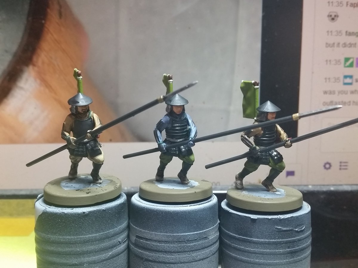 This morning I got these 3 Yari Ashigaru ready for basing. These are from the Test of Honour plastic starter set originally produced by Warlord Games. #MiniaturePainting #WIP #Samurai #Ashigaru #FuedalJapan #SengokuJidai #TestofHonour #WarlordGames