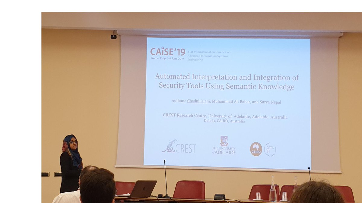 Another research outcome of CREST centre on #SecurityOrchestration  supervised by Professor M. Ali Babar (@alibabar) presented @CAiSEConf by our Phd Student @_Chadni_ . #caise2019 #cybersecurity #SecuritySoftware