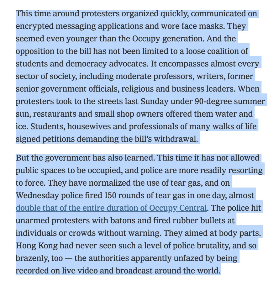 HKU'S Yuan Ying Chan NYT Op-Ed on what has changed since 2014's #OccupyHongKong, and what hasn't-- Why #HongKong Will Still March on Sunday. Yes, the extradition bill has been suspended. No, that will not be enough. #香港 #HongKongProtest #AntiELAB https://nyti.ms/2KjDFwO