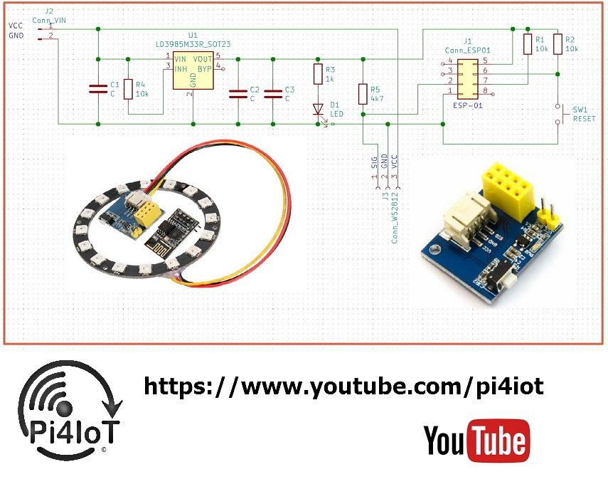 Schematic of ESP01 WS2812-LED-controller: - #schema #scheme ... on