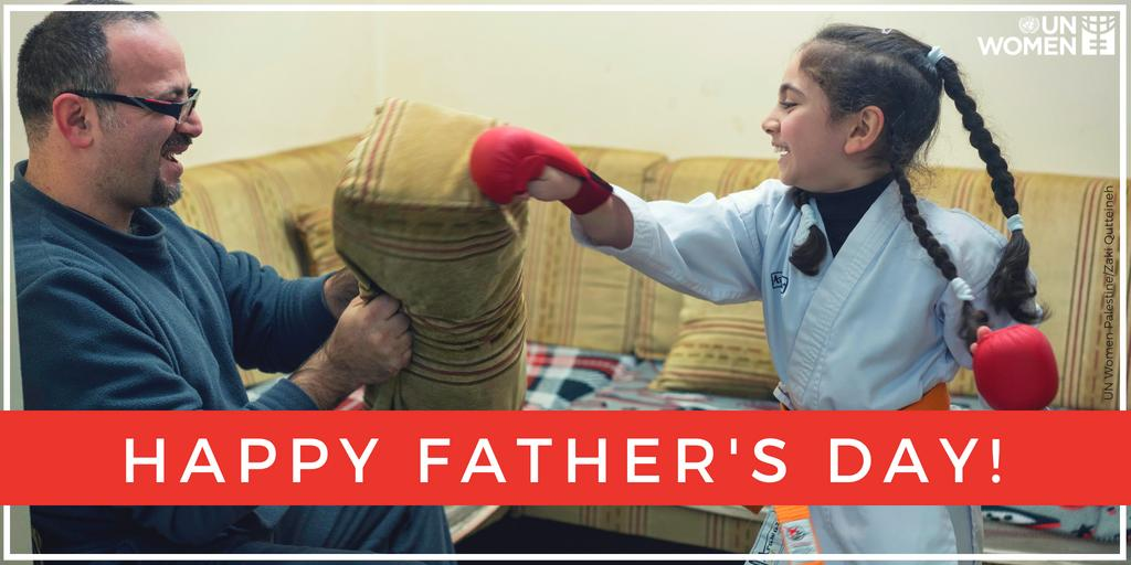 Here's to feminist dads who teach their sons about equality & respect, empower their daughters to defy stereotypes, and support gender equality! #FathersDay