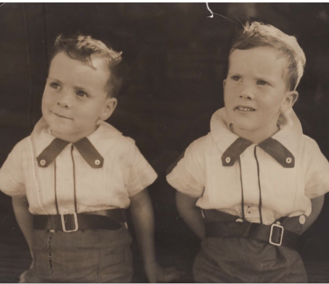 Happy Father's Day, Dad. (He's the TweedleDee on the left with his twin brother, in 1936).