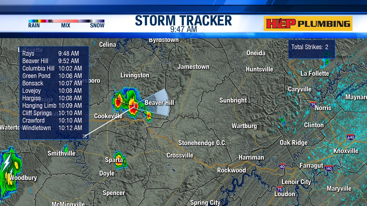 9:47 AM - Isolated downpours are moving towards Fentress County (timing is in EST). Some thunder is possible.  @wateweather #wakeupwithwate #knoxville #easttennessee