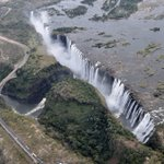Image for the Tweet beginning: Victoria Falls from a helicopter