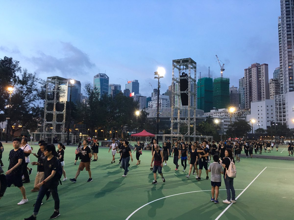 Almost four hours after the anti #extradition protest started, scores of people still pouring into Victoria Park, Hong Kong, where the protest started @SCMPNews