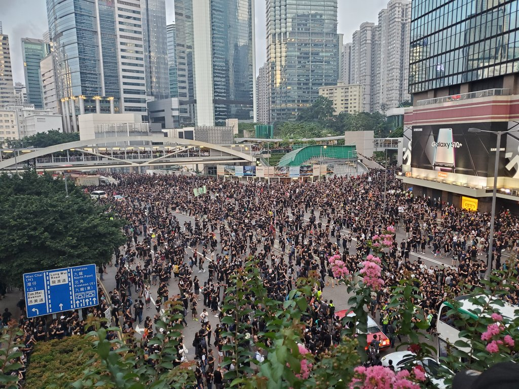 Harcourt Road, which was a stronghold for protesters during the Occupy protest in 2014 and a protest against the extradition bill last week, has just been occupied by marchers