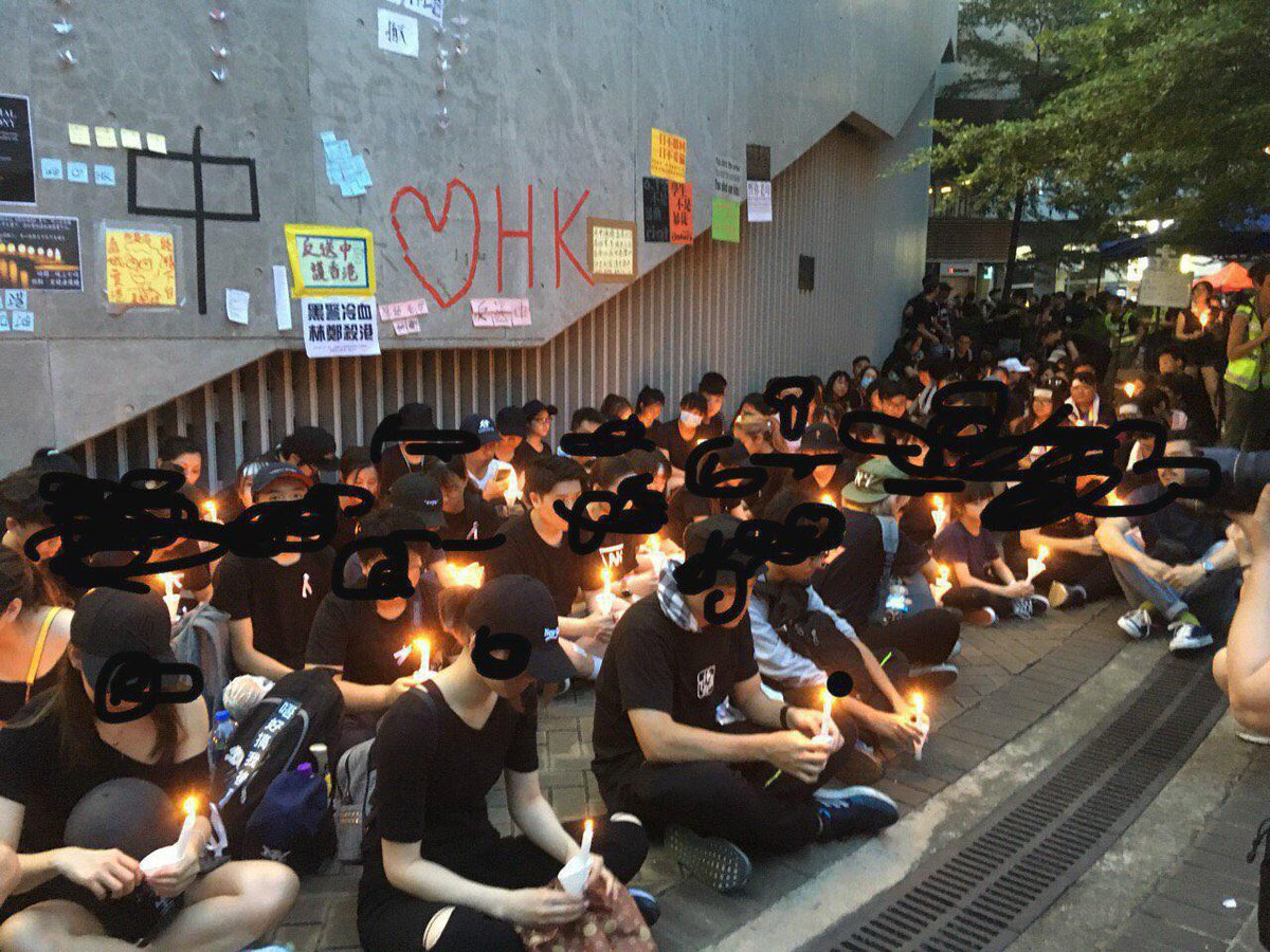 [1920 HKT] Candle light vigil for the yellow raincoat man, who unfortunately fell from Pacific Place while protesting against ELAB and HK government #antiELAB