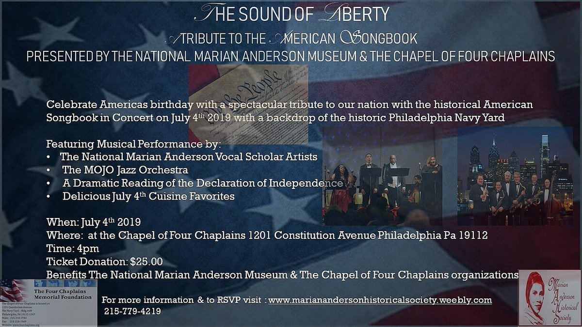 RSVP and Confirm your Tickets Today!  #mariananderson #opera #classical #jazz #independenceday #4thofjuly #july4th #visitphilly #arts #philadelphia #libertybell #music #americansongbook #charity #chapeloffourchaplains #veterans #philadelphianavyyard<br>http://pic.twitter.com/7eYZKSjOWS
