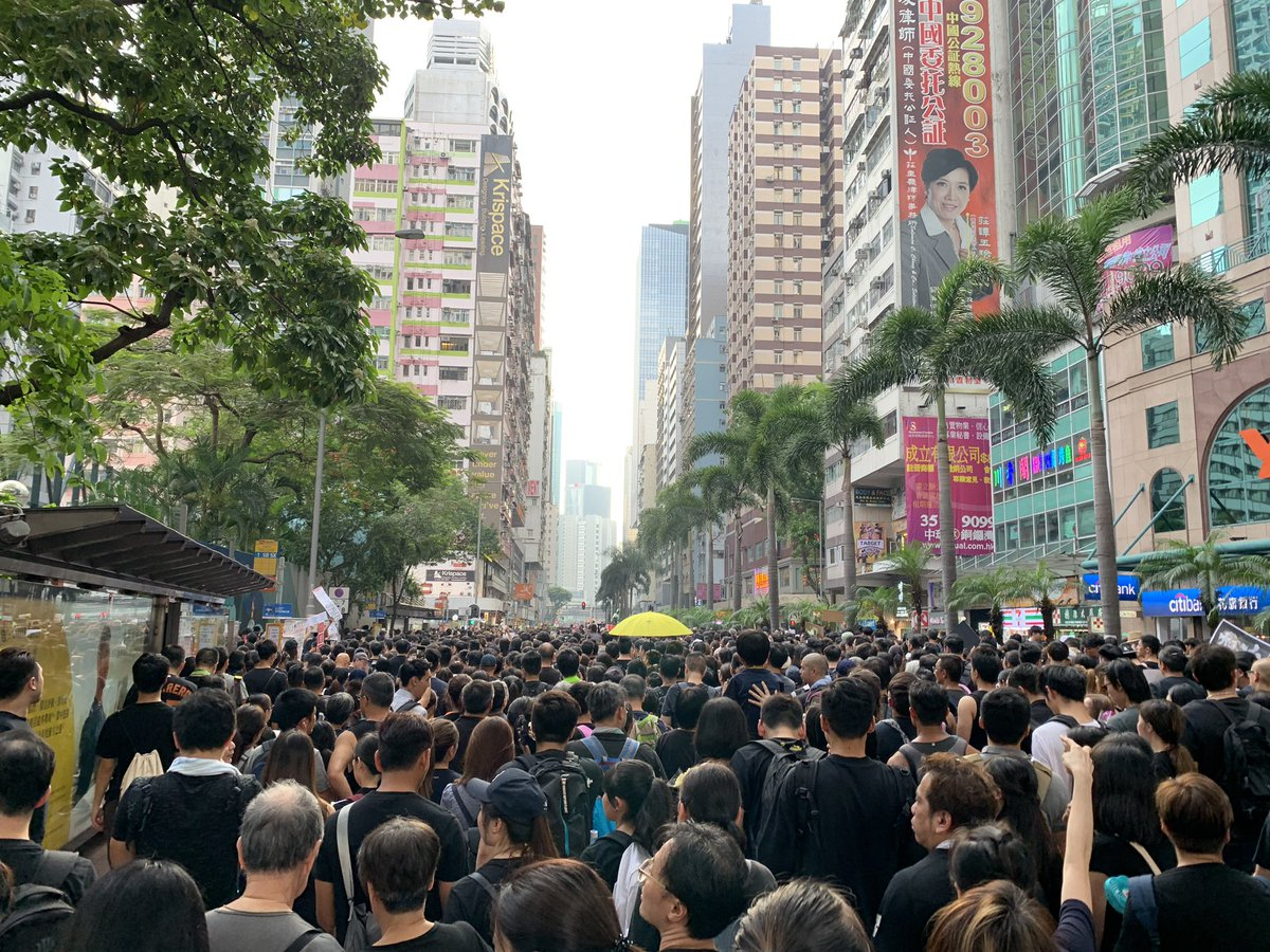 People in Hong Kong protesting on the main streets in Hong Kong island and requested the government to recall the Extradition Bill.  #反送中 #逃犯條例 #香港 #hongkong #AntiELAB #NoExtraditionToChina #暫佢老母 #林鄭下台