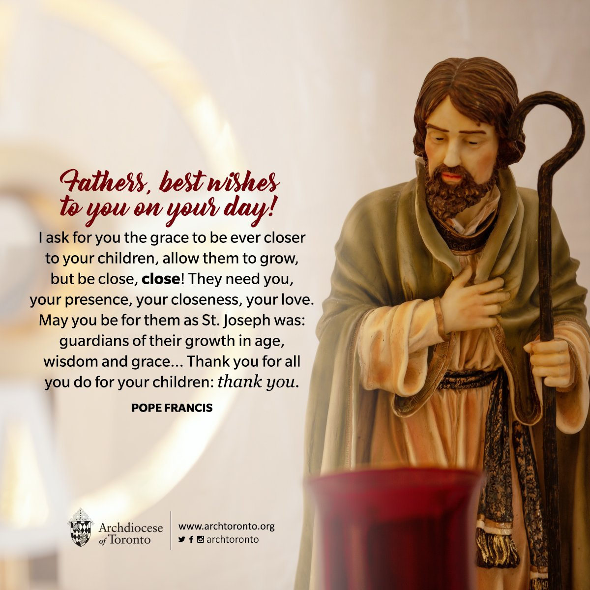 Fathers, best wishes to you on your day! May St. Joseph bless you and accompany you. #fathersday