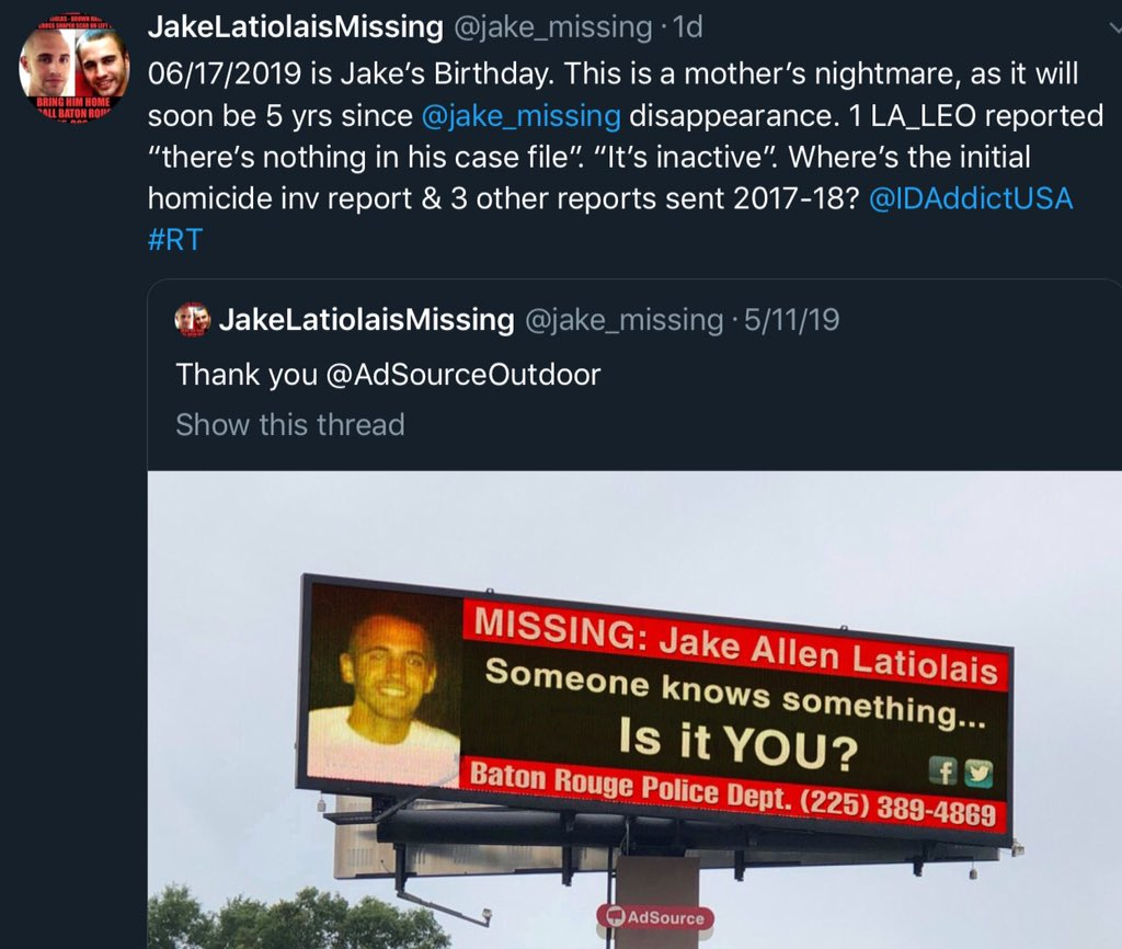 #RT, tag and make a plea to any media or show which will dig into @jake_missing case. How is it possible to have NO REPORTS IN THE CASE FILE  #missingperson case which is almost 5yrsold? THIS IS UNACCEPTABLE! Local media in Baton Rouge is avoiding like the plague.  <br>http://pic.twitter.com/AJ6xhBZ96l