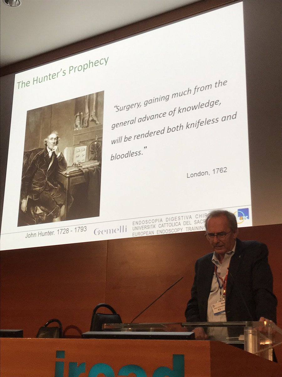 """The Hunter's Prophecy """"Surgery, gaining much from the general advance of knowledge, will be rendered both knifeless and bloodless""""  Great lecture from Prof. Guido Costamagna #surgery"""