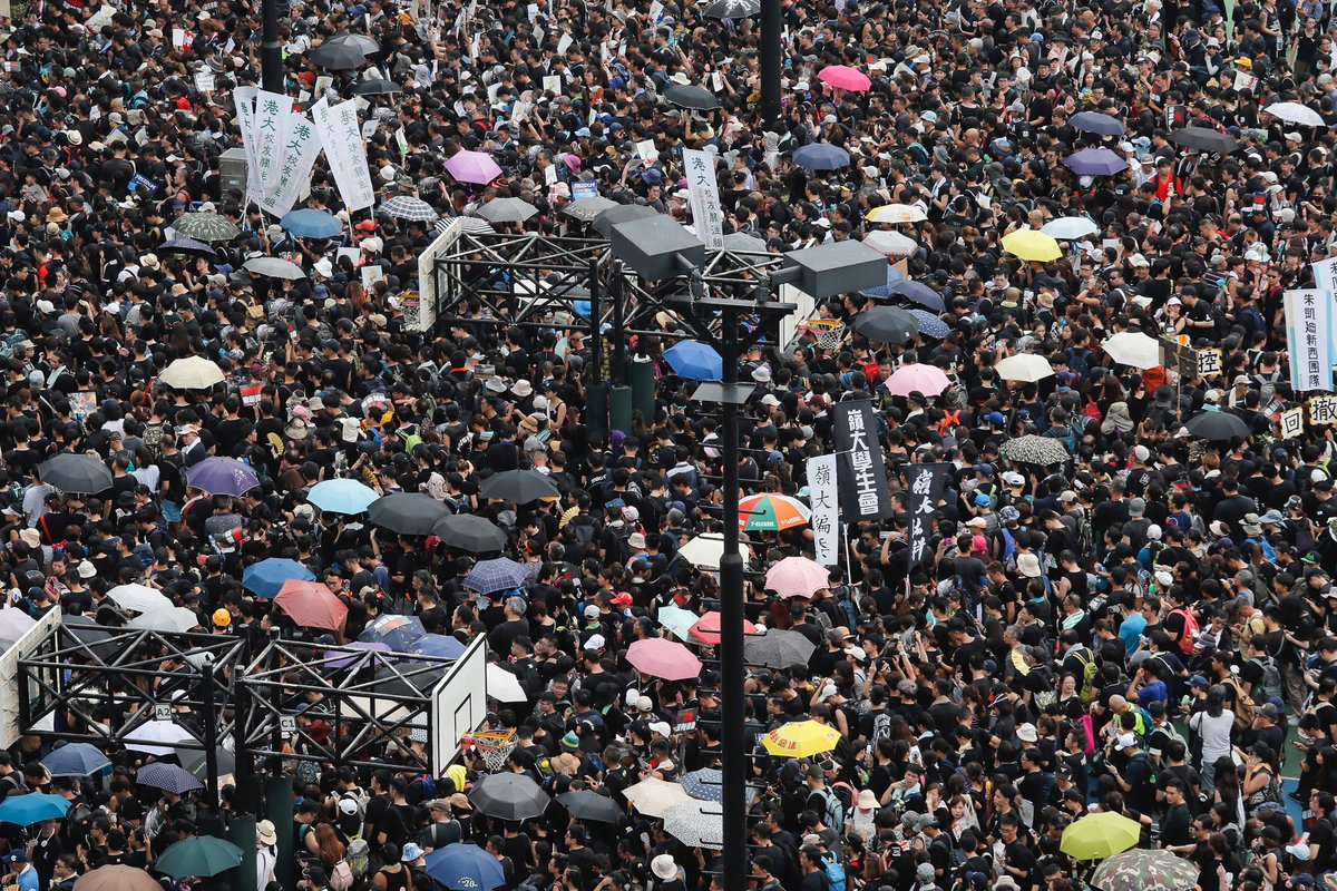 Hong Kong Chief Executive Carrie Lam said she wasn't trying to placate her critics by suspending the extradition bill on the eve of a major protest. Placated they were not.  https://www.latimes.com/world/la-fg-hong-kong-protest-20190616-story.html… …