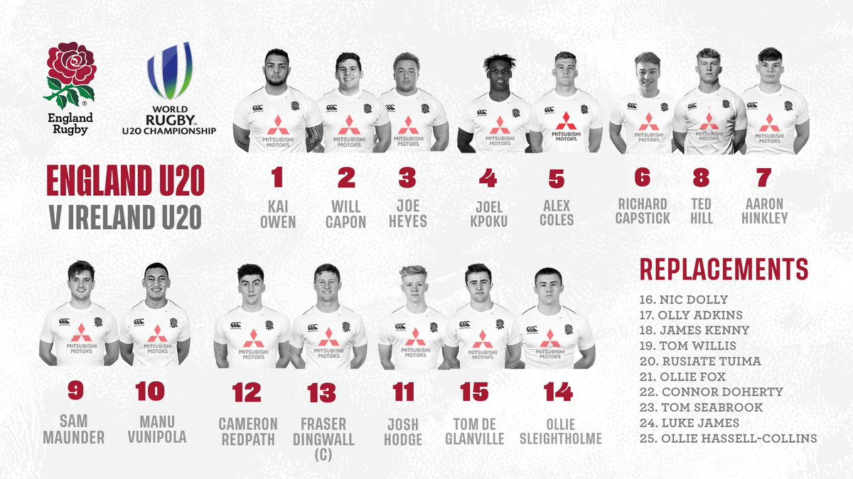 test Twitter Media - U20s | Your England team to face Ireland tomorrow at the #WorldRugbyU20s Championship 🌹  📺 Watch live ITV 4 with kick off at 19:30 BST 🏴   📝 Preview: https://t.co/O3sStu9fHs https://t.co/DpZH1yHQeJ