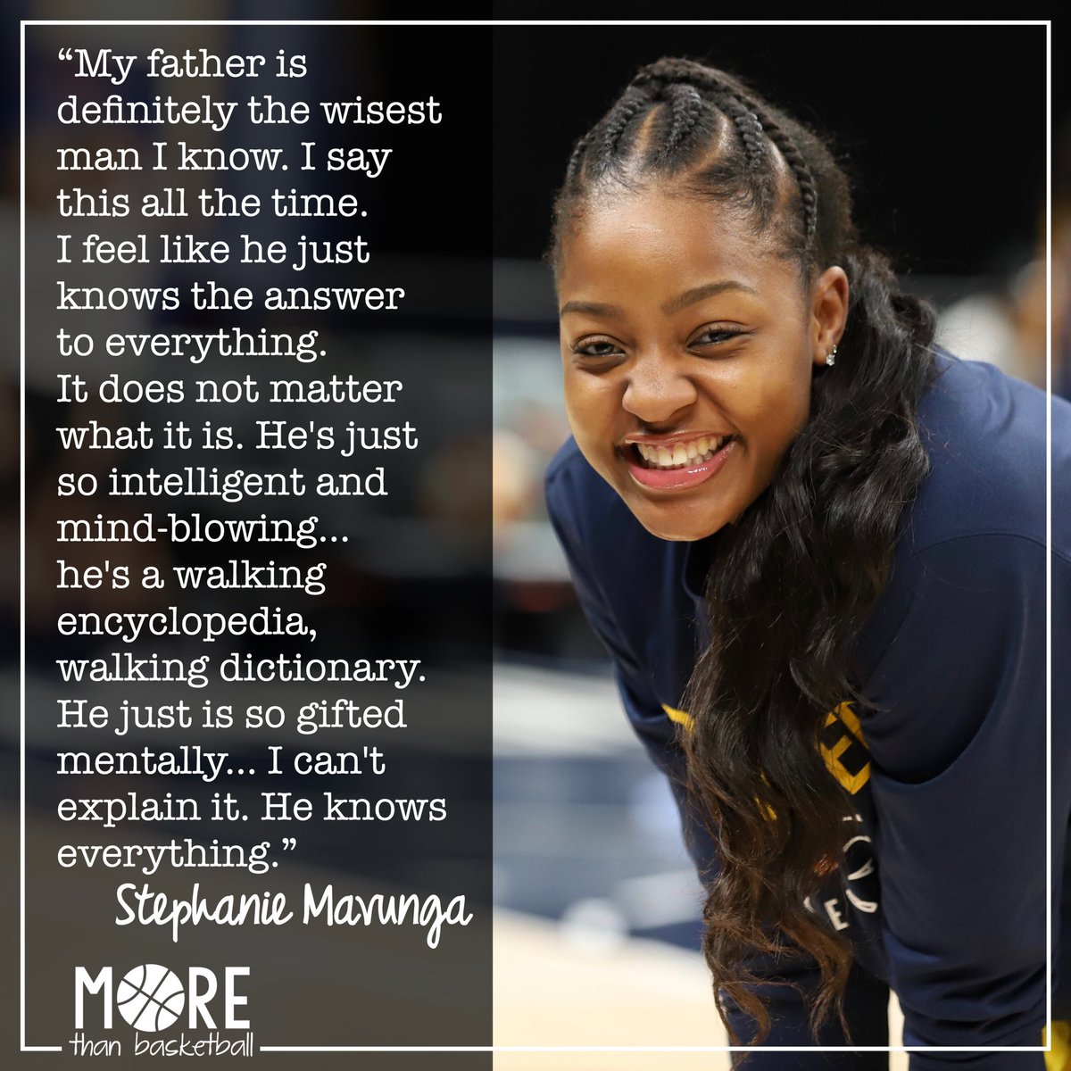 The @indianafever's @SMavunga_23 says her father Phillip is the wisest man she knows. When she was young, the Mavunga family immigrated from Zimbabwe to the US in pursuit of academic opportunities. Happy Father's Day, Phillip! . #wnba #fever20 #allforlove #fathersday