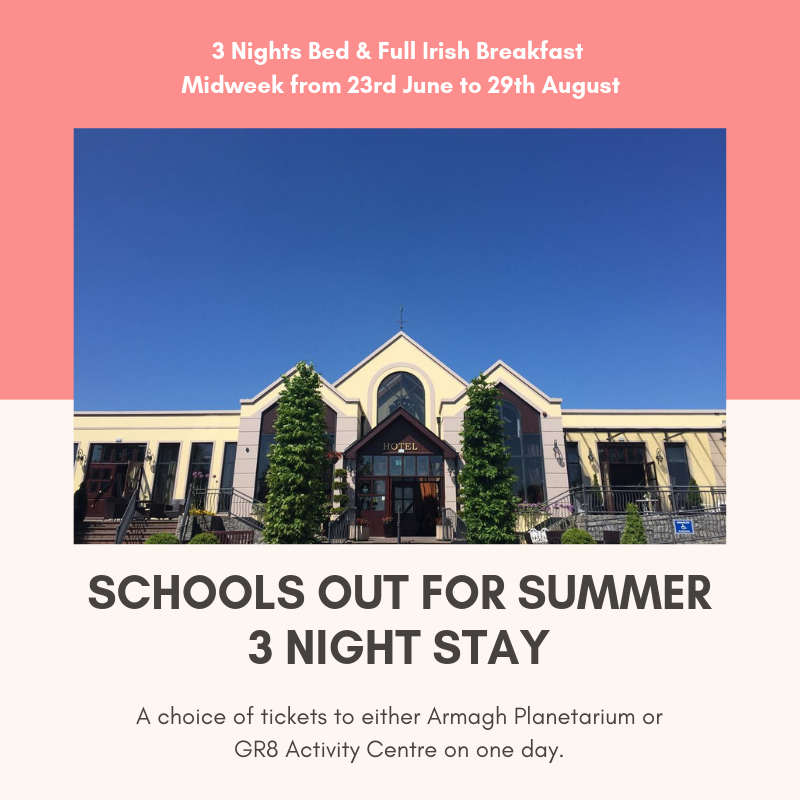 Schools Out for Summer😀😍 3 Night Stay Offer! Bed & Full Irish Breakfast Midweek from 23rd June to 29th August. A choice of tickets to either Armagh Planetarium or GR8 Activity Centre. Rate includes up to 2 adults & 2 kids (max 4 people). €390 per family 😱 Book Now! https://t.co/LAilrC0qIA