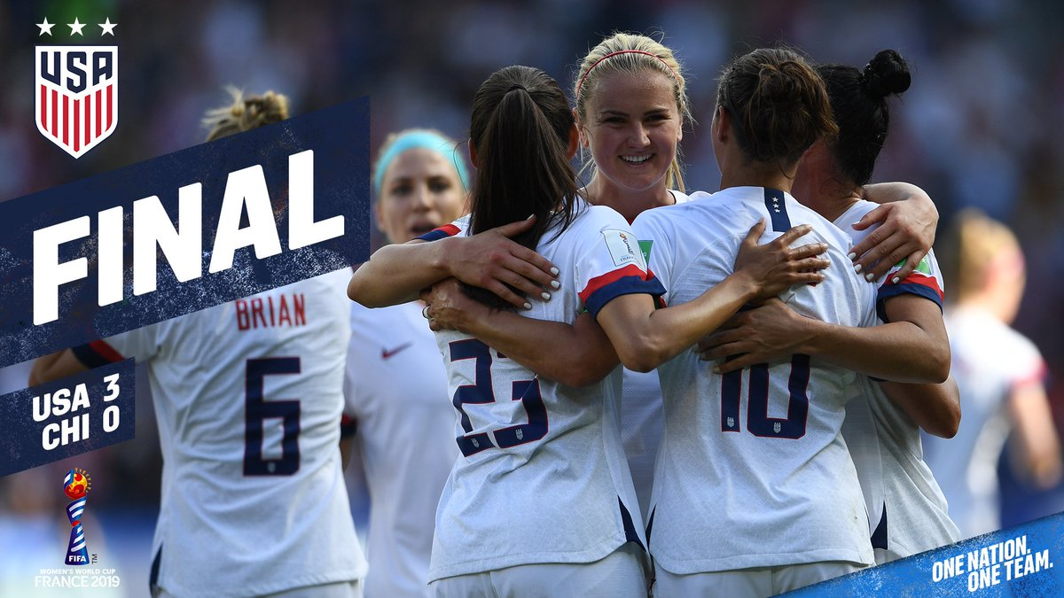 Six points 🇺🇸 🔝 of Group F To Le Havre we go! 🚌 #FIFAWWC | #OneNationOneTeam