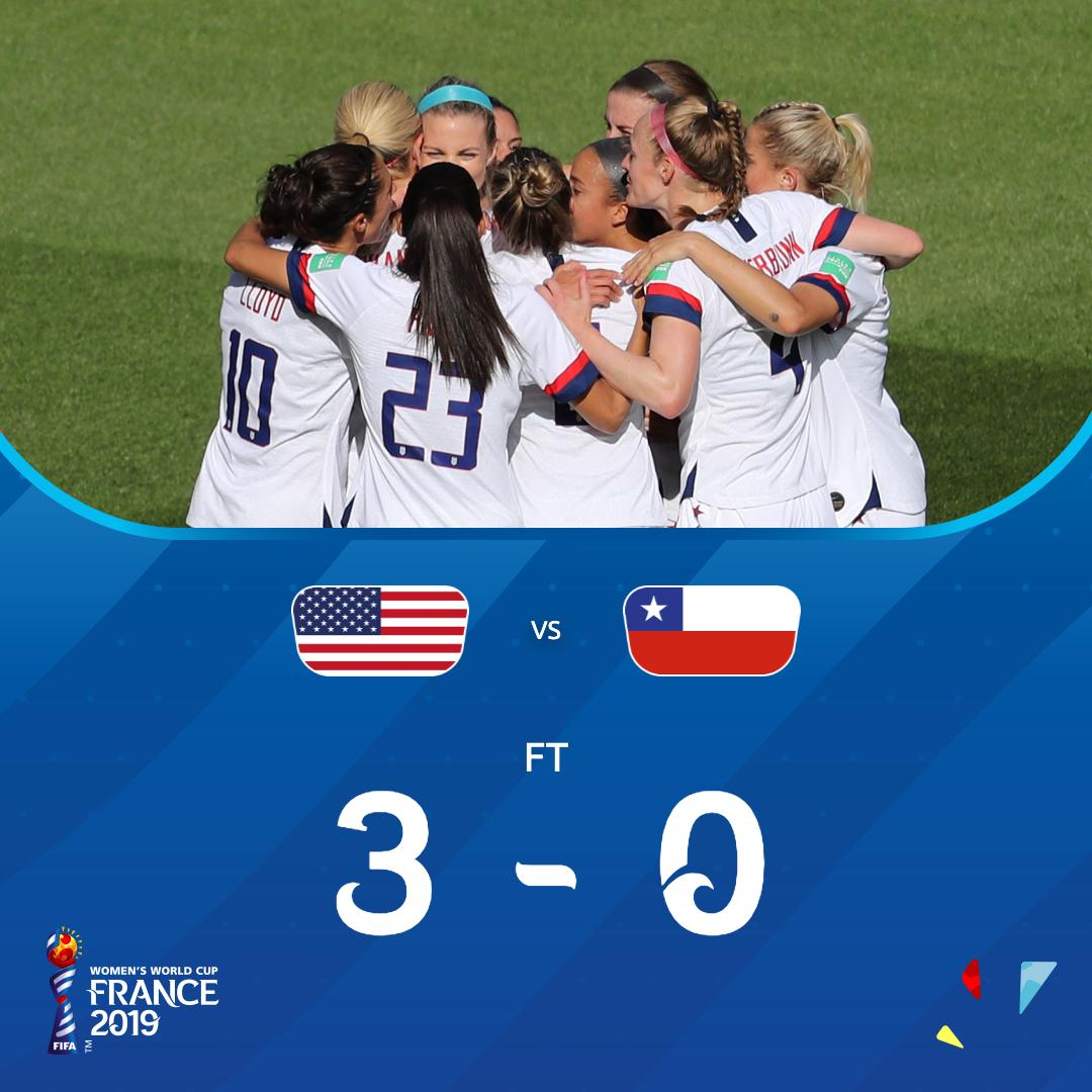 No second-half goals for the #USA this time, but another W nonetheless! #USACHI | #FIFAWWC