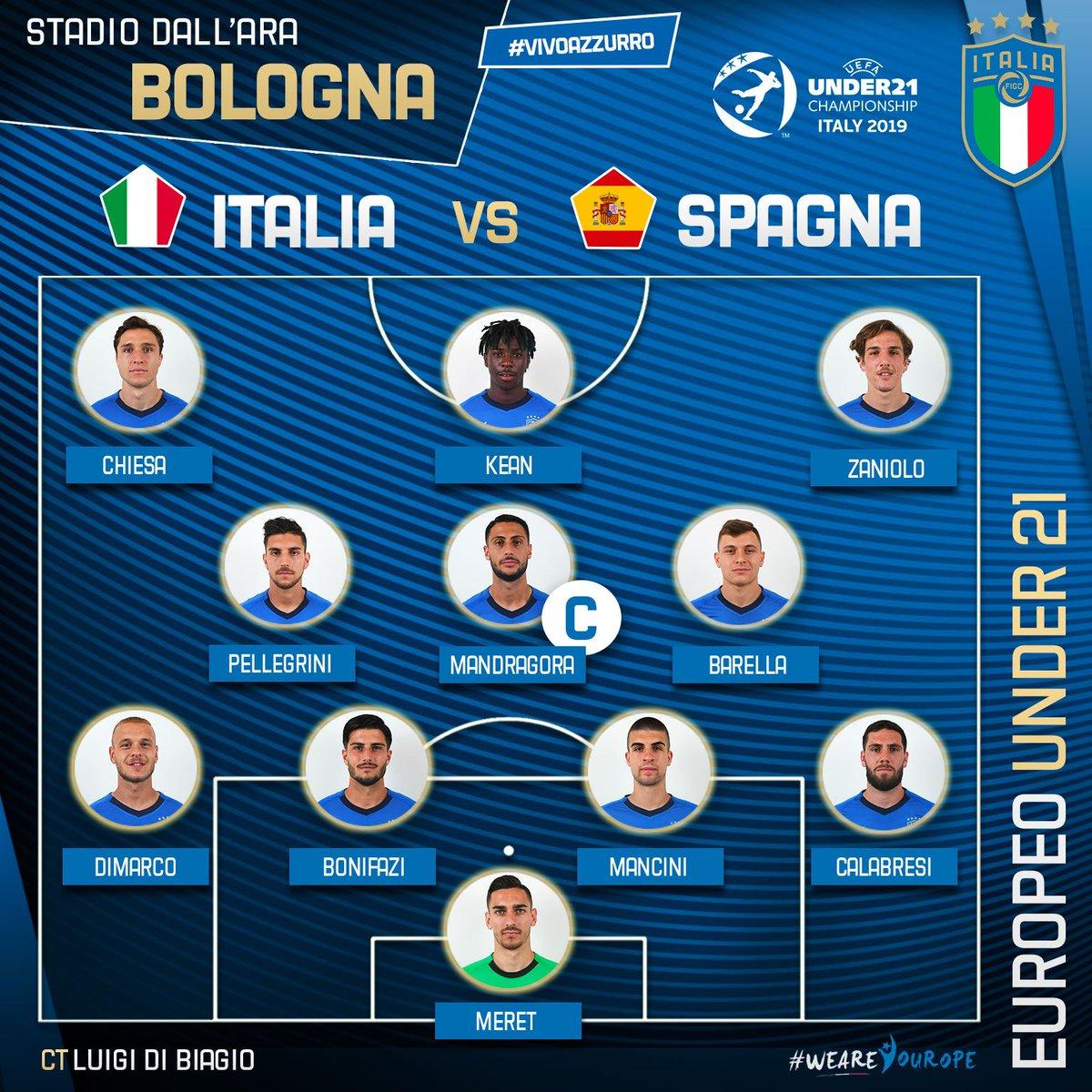 Gli #Azzurrini scelti da #DiBiagio!  #U21Euro 🇪🇺 Gruppo A  🇮🇹 #ItaliaSpagna 🇪🇸  📺 #RaiUno ⏱️ 2️⃣1️⃣:0️⃣0️⃣ 🏟️ Stadio #DallAra - #Bologna  #VivoAzzurro #WeAreYourope #Under21