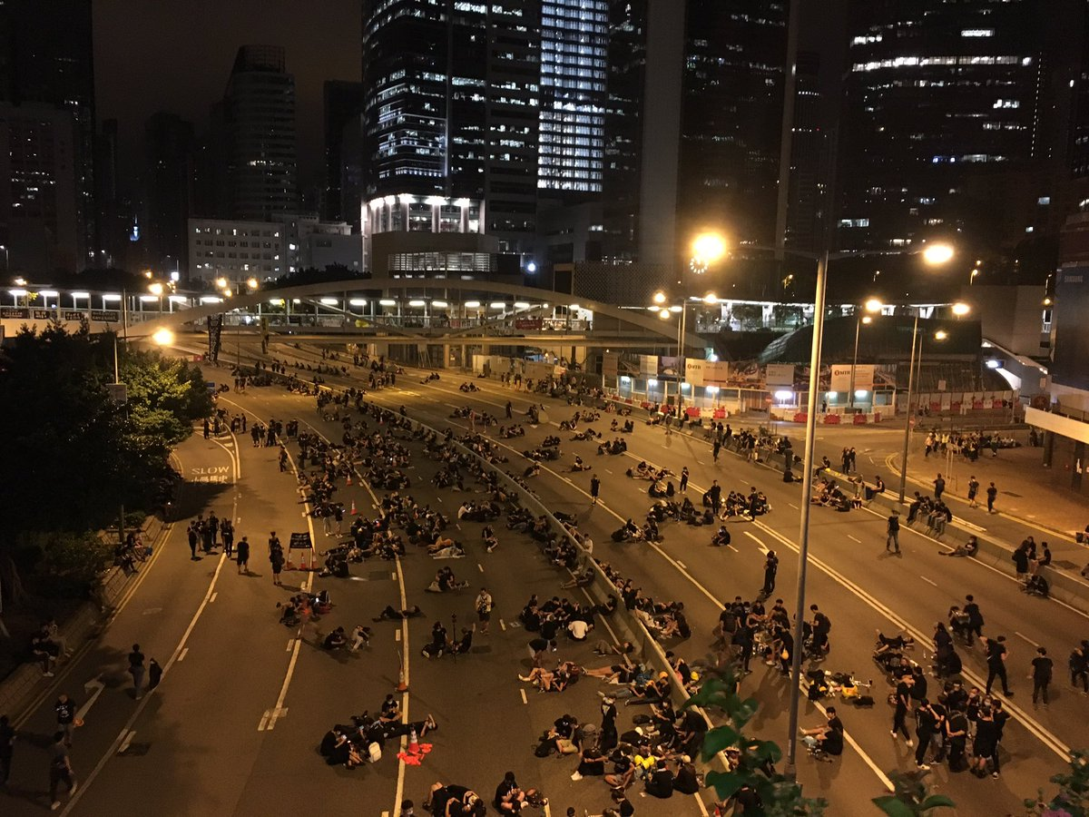 It's 2 a.m. in Hong Kong and the protesters are still occupying the main road near government offices and the legislative council.