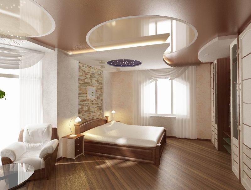 Потолки в г образной комнате фото