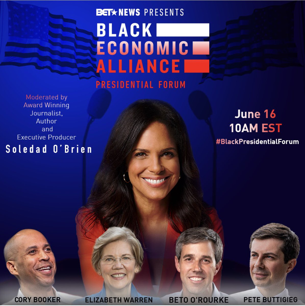 Our @BET Presidential Forum, in collab with the Black Economic Alliance airs in ten minutes!!