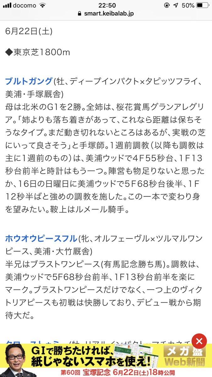 来週、6月22日(土)の東京 芝 1800メートル戦でブルトガングがデビュー予定。 相手はブラストワンピースの妹か⭐️ そして、6月23日の阪神 芝 1800メートル戦ではリメンバーメモリーがデビュー予定。 相手は、シルヴェリオ。 これ、負けた方は思うように結果が残せなくなるパターンじゃないのか?💦