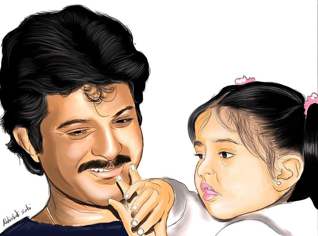 Portrait of @AnilKapoor and @sonamakapoor (the one of a kind father-daughter Jodi) #sonamkapoor #anilkapoor #FanArt #portrait #Illustration