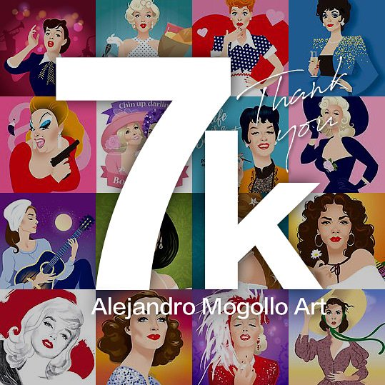 I just reached 7k followers in Instagram. Thank you so much! #alejandromogolloart #7k #ThankYou