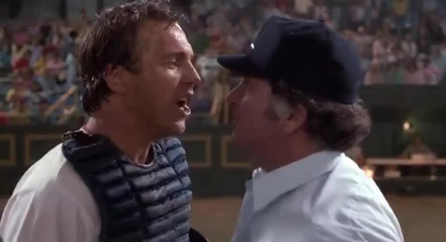 Crash: It was a cocksucking call. Ump: Did you call me a cocksucker?  Crash: You want me call you a cocksucker?  Ump: Go ahead call me a cocksucker and you're out of here. Crash: You're a cocksucker. <br>http://pic.twitter.com/eL93WGoC3C