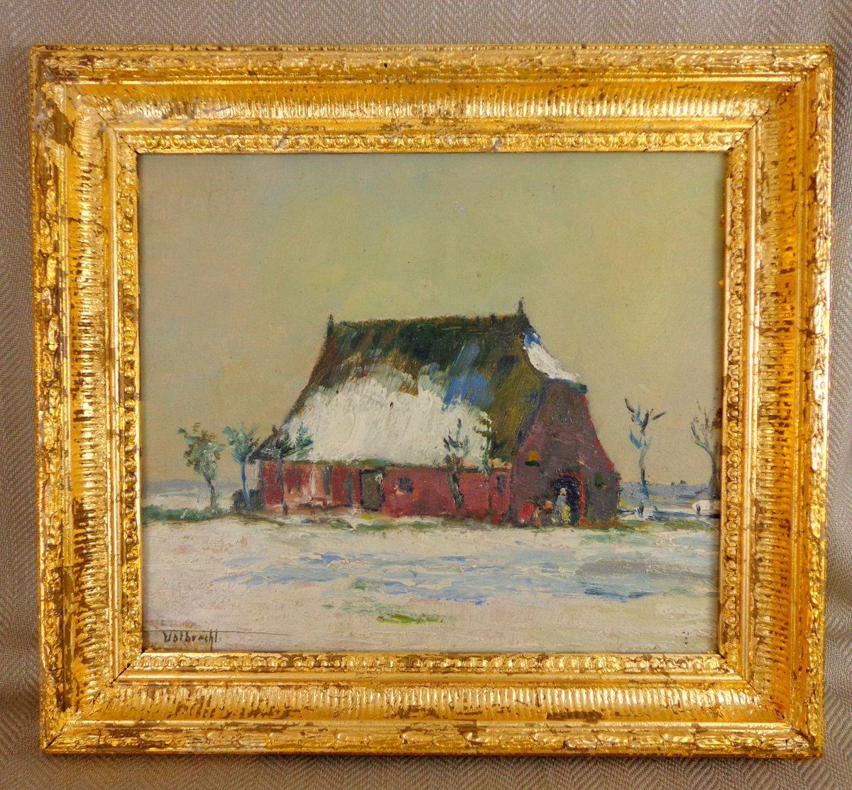 Antique German Expressionist Original Oil Painting - Winter Landscape Ernst Volbrecht (Hannover 1877 - Hamburg 1954) #FineArt #AntiquePainting #OilPainting #Expressionism #Art   https://bit.ly/2DMwqsJ