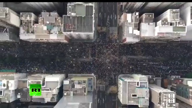 Drone footage of mass protest in #HongKong