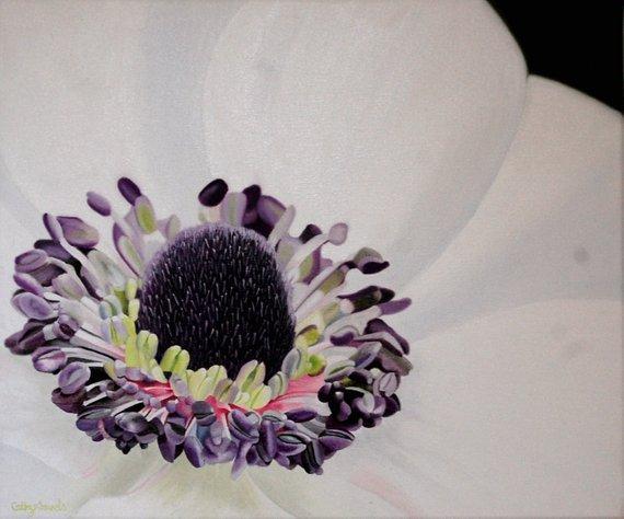 Anemone flower oil painting, very detailed. http://dld.bz/haKXK #fineart