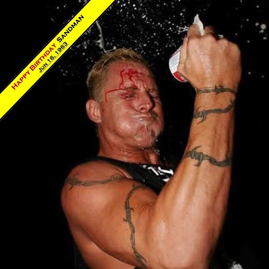 Happy Birthday! The Sandman Jun16,1963 Age56 6ft3in(1.91m) 240lb(110kg) Finisher: Senton bomb. ——————————————— 【Titles】 •ECW World Heavy, •ECW World Tag, •IWC World Heavy, •Ironman Heavy, •WEW World Tag, •FOW Hardcore. #wcw #wwf #wwe #raw #smackdown #ecw #fmw #thesandman