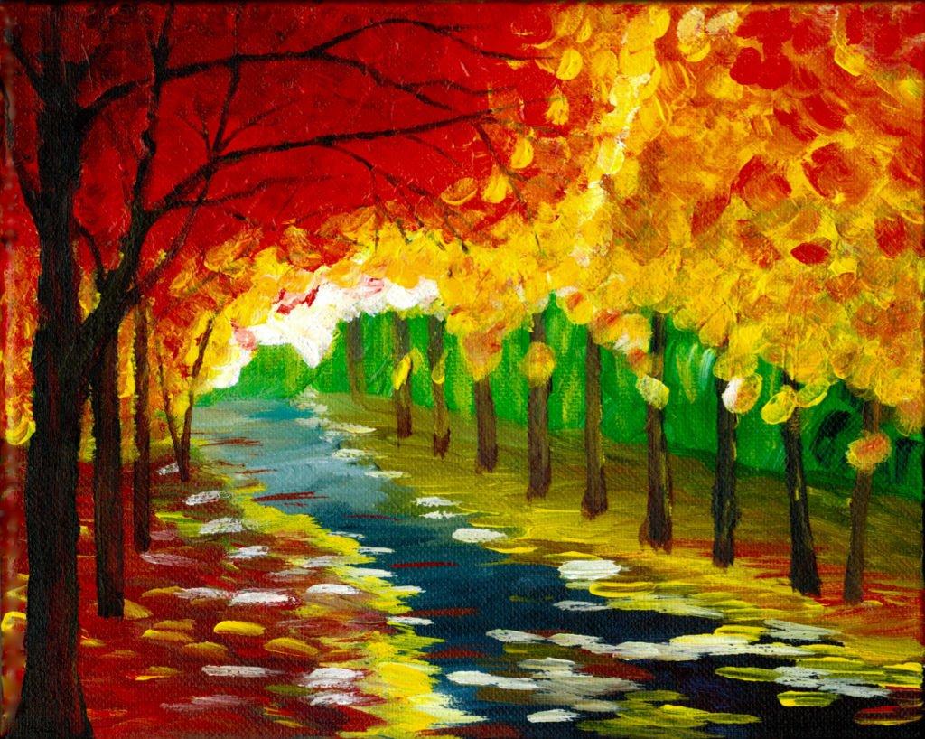 Autumn Walk in the Park Acrylic Painting. Giclée and the Original Available! http://bit.ly/2AFiKxN #giclée #art #painting #modernart #abstractart #fineart
