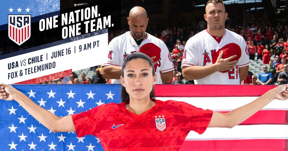 We've got your back, @USWNT. Good luck against Chile today!  #FIFAWWC   #OneNationOneTeam  | #TheHaloWay  <br>http://pic.twitter.com/C0Jk8srocx