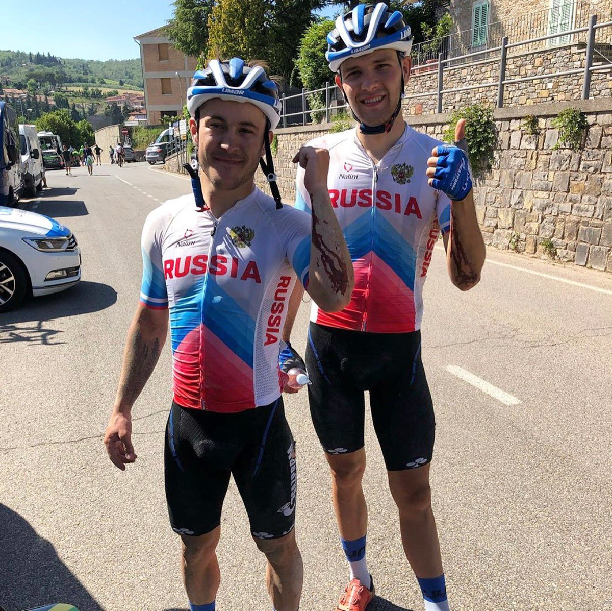 #Cyclinghurts however the fight for the pink continues and the most decisive stages of #GirodItaliaU23 are ahead! 🏔   #RockTheRoyalBlueJersey #GazpromRusVelo #TeamRussia #cycling #ciclismo #u23cycling
