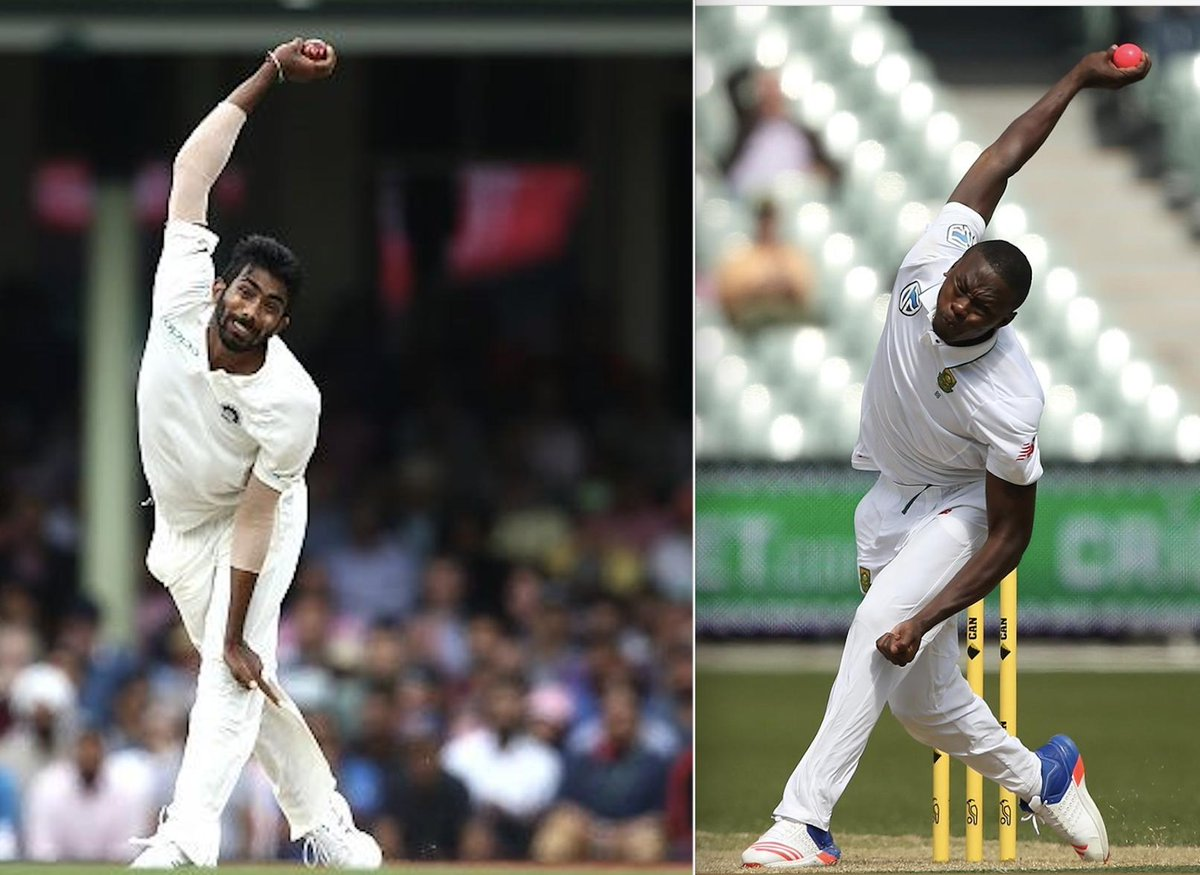 Heres @Jaspritbumrah93s hyperextension compared to a non-extension from @KagisoRabada25 #PAKvIND #INDvPAK #CWC19