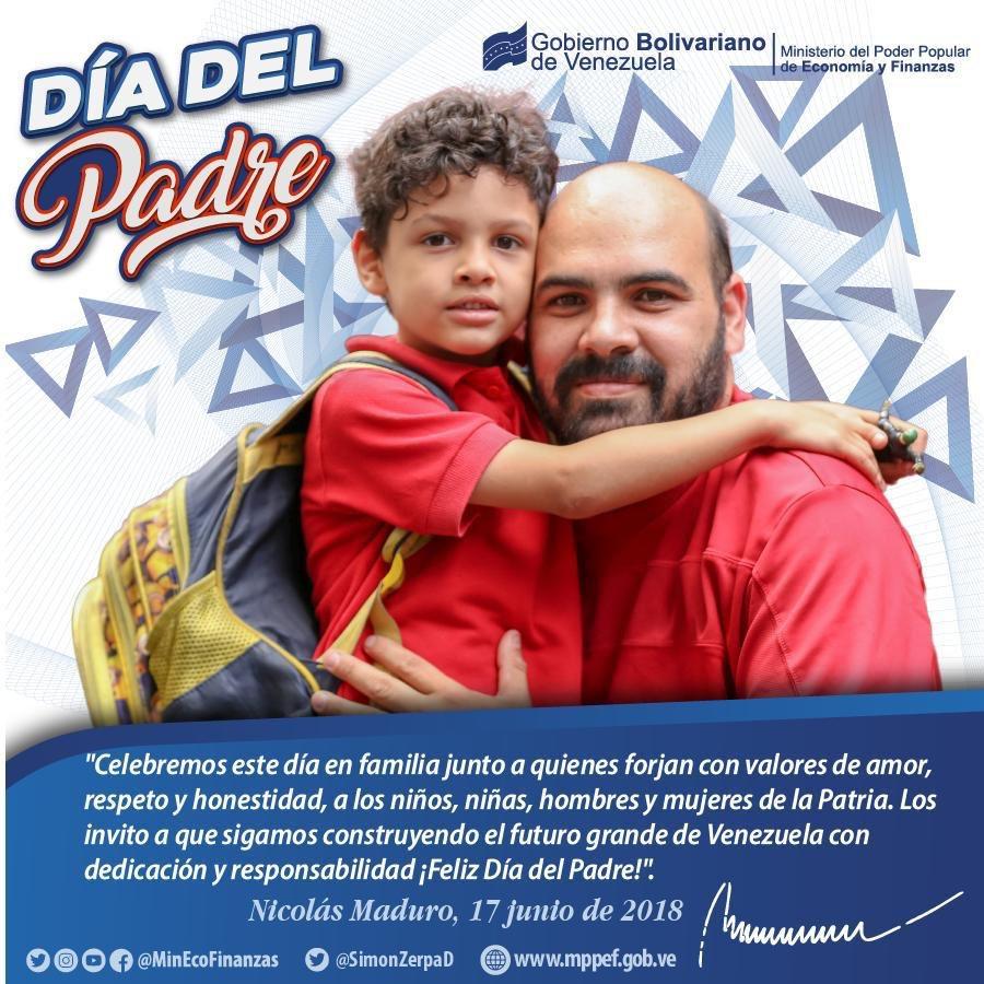 Nuestra entrega es por el proyecto que garantice un futuro de máximo bienestar para nuestros hijos. Todo el amor y moral en cada acción porque de ello dependerá dejarles una Patria más justa y soberana. ¡Felicidades a todos los padres de Venezuela!
