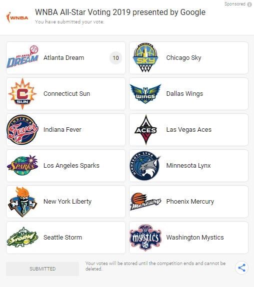 That was easy! Search WNBA Vote in @Google and vote for your favorite #AtlantaDream players every day.   #DreamOn