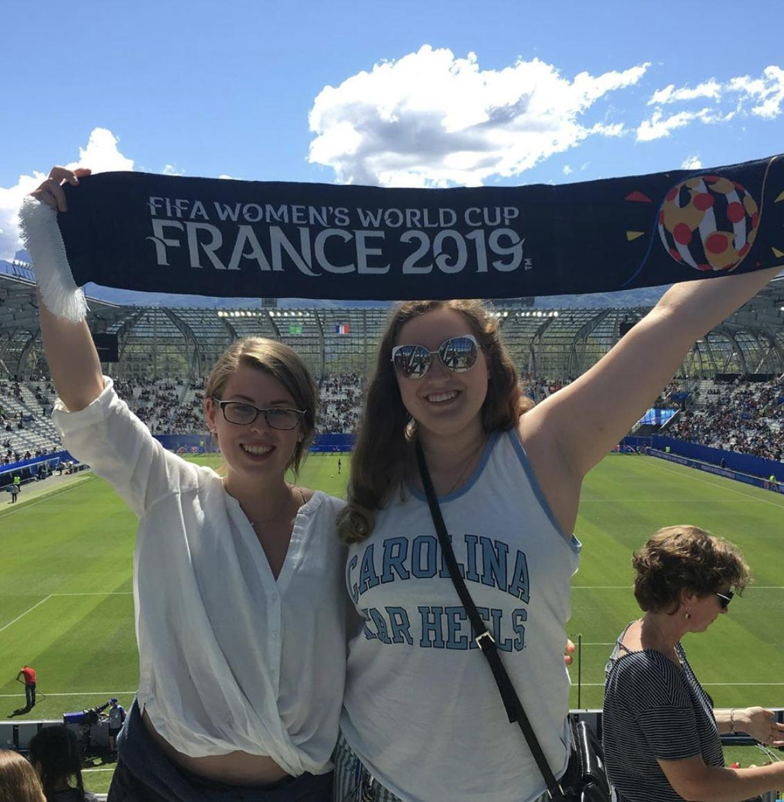 Tar Heel fans are everywhere you look — even #FIFAWWC! Good luck to @USWNT (and the team's five @ncwomenssoccer alumnae) in today's match ⚽️ #USA 📸: @TarheelPhan and artiethemermaid on IG https://t.co/by81MrPzm0