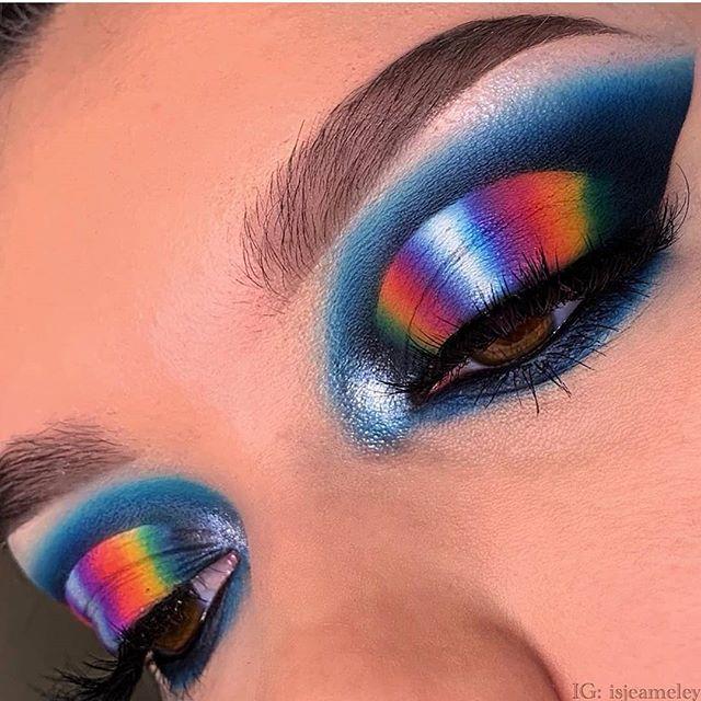 teach us your ways @isjeameley! this is amazing! 💙💚💛🧡💜 . . featuring the matte palette | back in stock july! . . .  #eyes #cosmetics etics #makeupaddict #lipstick #skincare #makeupmess #makeupblogger #instabeauty #lips #instamakeup #lashes #makeupjunkie #colourpop  #jeff…
