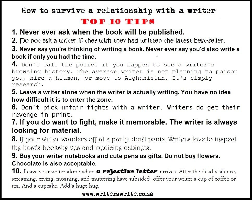 Top 10 Tips on how to survive a relationship with a writer!   #writingcommunity #amwriting <br>http://pic.twitter.com/XGZczKAoqh